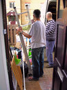 Constructors at work contractors a council house for repair Royalty Free Stock Photography