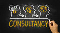 Consultancy concept hand drawn on blackboard Stock Photography