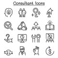 Consultant & Expert icon set in thin line style Royalty Free Stock Photo