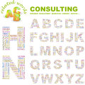 Consulting abc word cloud concept illustration print concept collage Royalty Free Stock Photo