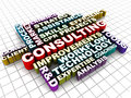 Consulting business concept words collage relating to consultation over geometric graph paper background Royalty Free Stock Images
