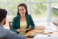 Consulting client beautiful vietnamese business lady in the office Royalty Free Stock Image