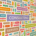 Consulting concept related words in tag cloud conceptual info text graphic word collage Royalty Free Stock Photos