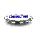 Consulting tabel with blue text Stock Photography