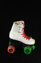 Consumed roller skate used vintage on a black background Stock Photos