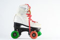 Consumed roller skate used vintage on a white background Royalty Free Stock Photo