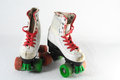 Consumed roller skate used vintage on a white background Royalty Free Stock Photography