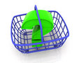 Consumer basket with question Royalty Free Stock Image