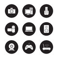 Consumer electronics black icons set Royalty Free Stock Photo