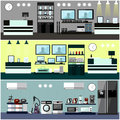 Consumer electronics store Interior. Colorful vector illustration. Design elements and banners in flat style.