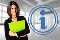 Consumer information smiling happy business woman Royalty Free Stock Image