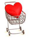 Consumer's basket with Heart Royalty Free Stock Photography