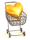 Consumer's basket with Heart Royalty Free Stock Photo