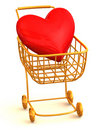 Consumer's basket with Heart Stock Photo