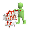 Consumer with shopping cart and gifts Royalty Free Stock Photos