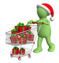 Consumer with shopping cart and gifts Stock Photography