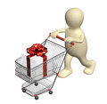Consumer with shopping cart and gifts isolated on white background Stock Image