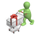 Consumer with shopping cart and gifts isolated on white background Stock Images