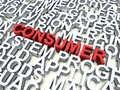 Consumer word in red salient among other related keywords in white d render illustration Stock Photo