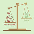 Consumption and Energy Disbalance Scale. Energy saving concept in flat style.