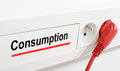 Consumption imaged by a red plug and an electrical outlet Royalty Free Stock Photography