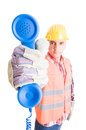 Contact assistance support construction company concept with contractor holding a phone Stock Photos