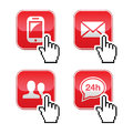 Contact buttons set with cursor hand icon Royalty Free Stock Photos