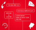 Contact form template for website in red and white color smart design with shadows Royalty Free Stock Photos