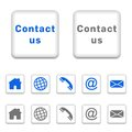 Contact icons in color versions on white background Royalty Free Stock Photos