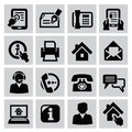 Contact icons vector black set on gray Stock Photos