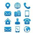 Contact Info Icon Set with Address Pin, Phone, Fax, Cell Phone, Worker and Email Icons Royalty Free Stock Photo