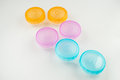 Contact lens cases three colorful Stock Photo
