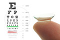 Contact lens and eye test chart Royalty Free Stock Photo