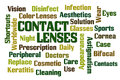 Contact lenses word cloud on white background Stock Images