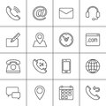 Contact line icons set, outline vector symbol collection, linear pictogram pack. Signs, logo illustration. Royalty Free Stock Photo