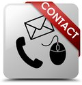 Contact (phone email and mouse icon) white square button red rib Royalty Free Stock Photo