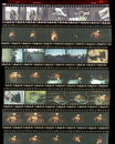 Contact sheet, the old color film positives in a transparent fil Royalty Free Stock Photo