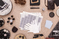 Contact sheets contact prints and cotton gloves gloves darkroom traditional photography desktop flat lay view from above Stock Images