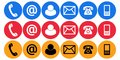 Contact us call mail plain icons Royalty Free Stock Photo