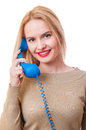 Contact us concept support or assistance with a woman holding a phone Stock Photo