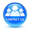Contact us (customer care team icon) glassy cyan blue round butt