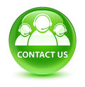 Contact us (customer care team icon) glassy green round button
