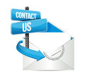 Contact us email sign illustration design over white Royalty Free Stock Photos