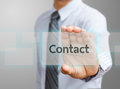 Contact us human hand holding futuristic business card Stock Photos