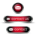 Contact us icon set red Royalty Free Stock Photos