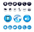 Contact us icon set variety of icons buttons and stickers Stock Photography