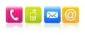Contact us icons four colorful contacting symbols Royalty Free Stock Images