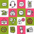 Contact us icons helpdesk telephone hotline service sketch set isolated vector illustration Stock Images