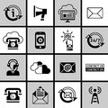 Contact us icons set black and white phone customer service guide buttons isolated vector illustration Stock Image