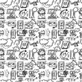 Contact us icons sketch customer service doodle seamless pattern vector illustration Stock Photos